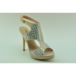 High heeled  sandals with decorative crystals by Veneti 9933-33