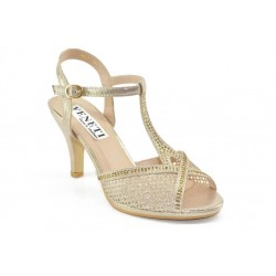 Ankle strap sandals with decorative rhainstones 6827