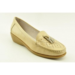 Women's leather anatomic moccasins by Veneti Q8862-210 BEIGE