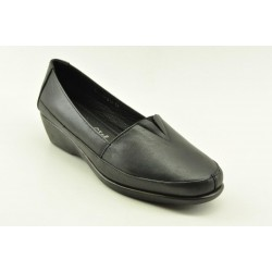Women's leather anatomic moccasins by Veneti  Q8862-217 BLACK