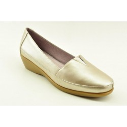 Women's leather anatomic moccasins by Veneti Q8862-217 SILVER