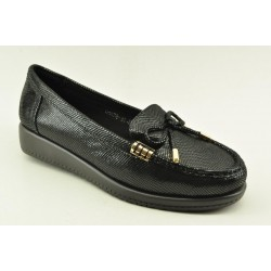 Women's leather anatomic moccasins by Veneti Q8878-10 BLACK