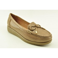 Women's leather anatomic moccasins by Veneti Q8878-10 BEIGE