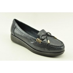 Women's leather anatomic moccasins by Veneti Q8878-10 NAVY