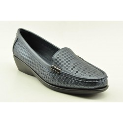 Women's leather anatomic moccasins by Veneti  Q8862-211 NAVY