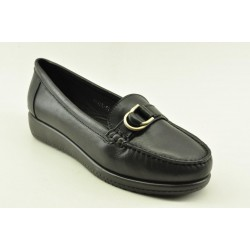 Women's leather anatomic moccasins by Veneti Q8878-57 BLACK