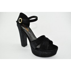 High heeled velvet sandals by Veneti 1230