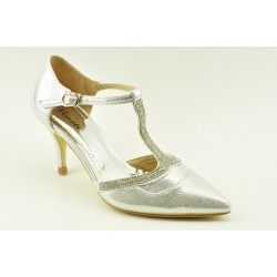 Bridal pumps with decorative faux crystals by Veneti 015-27
