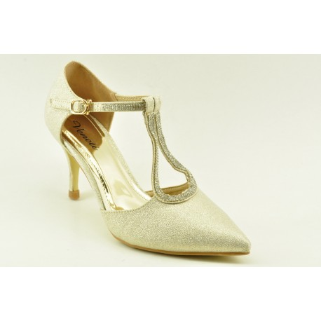Bridal pumps with decorative faux crystals by Veneti 6324-20