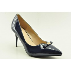 High heel pumps in navy finish by Veneti
