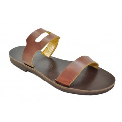 Women's leather sandals by Romance 20-12 brown