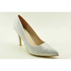 Bridal satin pumps in silver finish by Veneti