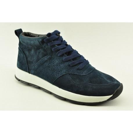 Men leather booties sneakers Alfio Rado k292 NAVY