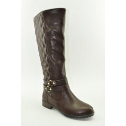 BOOTS WITH FLAT HEEL VENETI B013-D1756 BROWN