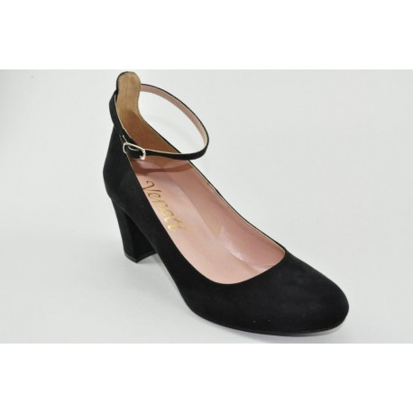 Ankle strap suede pumps by Veneti 65438